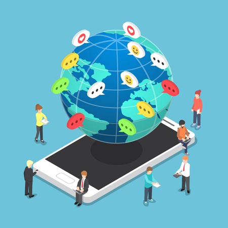 communications technology: Isometric people chatting to other through electronic devices, information and communications technology, social media, social network