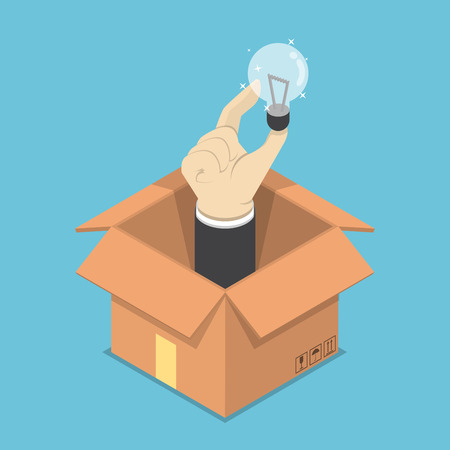 Isometric businessman hand holding light bulb of idea sticking out from the cardboard box, think outside the box concept