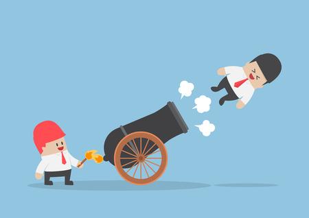 Zakenman schot uit kanon, snelkoppelingen naar succes, commercieel teamconcept