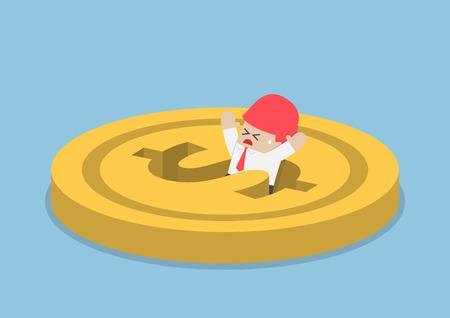 Businessman falling into dollar hole, financial crisis, bankruptcy concept