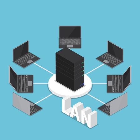 Isometric LAN network diagram, computer network and technology concept Illustration