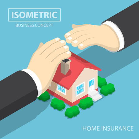 house agent: Isometric businessman hands protecting the house, agent, real estate, home concept Illustration
