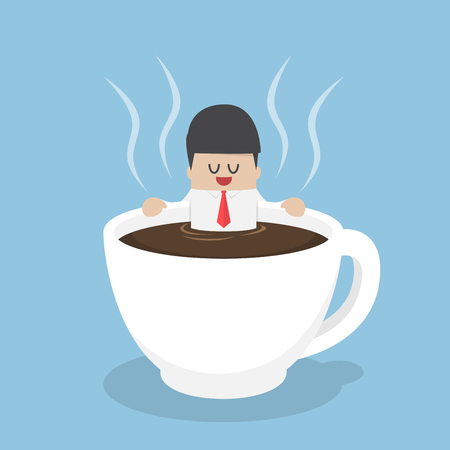 Businessman relaxing in a cup of coffee, break time, coffee lover, coffee break concept