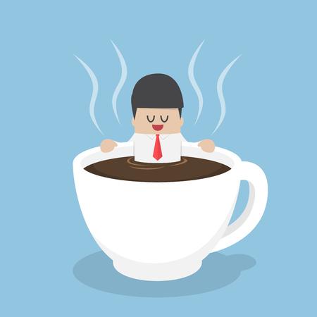 Zakenman ontspannen in een kopje koffie, pauze tijd, koffie liefhebber, koffie break concept