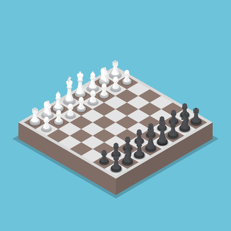 Isometric chess piece or chessmen with board, competition, business strategy concept Illustration