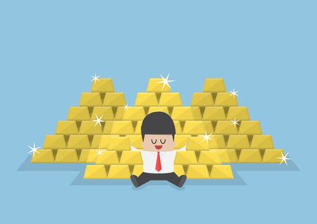 money stack: Businessman sitting with a pile of gold bars, gold market, successful business, wealth concept Illustration