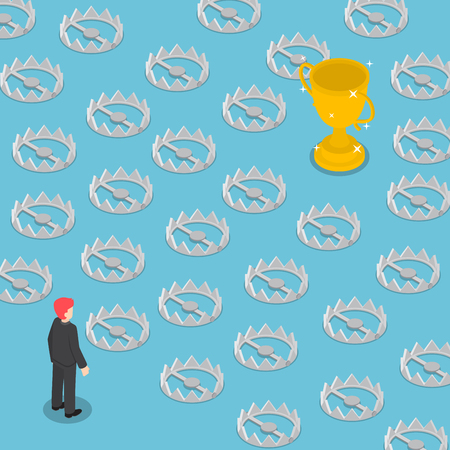 Isometric difficult path to success full of traps, business obstacle concept