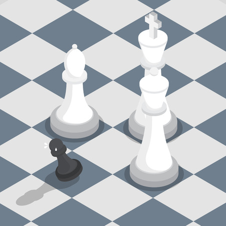under pressure: Isometric black pawn surrounded by white king, queen, bishop on the chessboard, facing the challenge, working under pressure concept