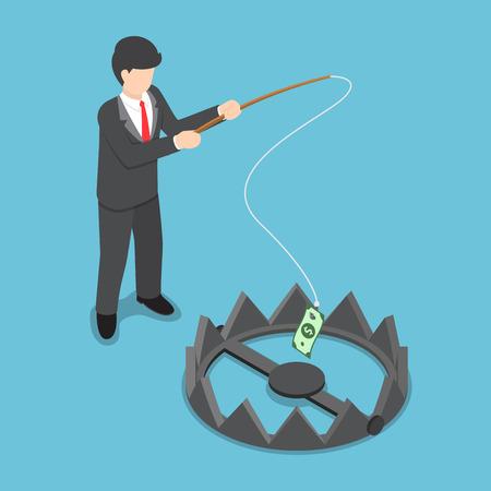 robo: hombre de negocios isométrico robó dinero de la trampa para osos por la caña de pescar, el riesgo de inversión, el desafío concepto de negocio