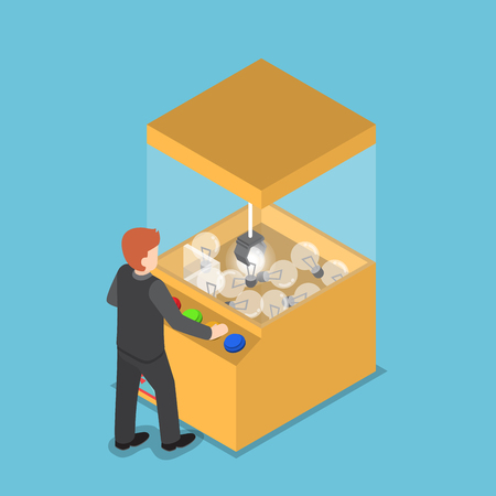 grabber: Isometric businessman getting glowing light bulb from claw game machine, business idea concept