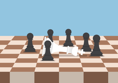 defeat: Group of black chess pawns defeat the white king, business strategy and competition concept Illustration