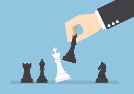 business rival: Businessman hand use black queen checkmate the white king, business strategy, eliminate rival concept