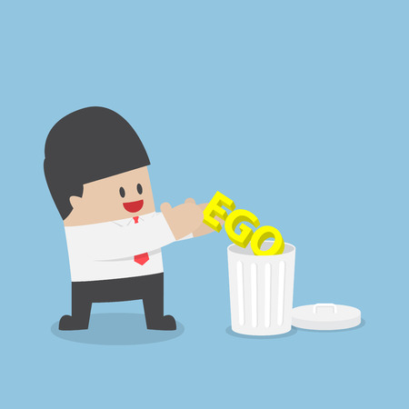 pompous: Businessman throw his ego into the trash, stop ego concept