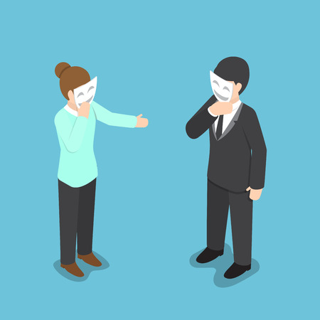 hipocres�a: Isometric business people covering their face with smiling mask, hypocrisy, psychological health concept