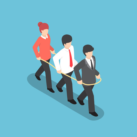 working together: Isometric business people walking forward together inside the rope, teamwork, business team concept Illustration