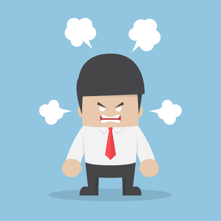 displeased: Angry businessman explode his emotion, stress and anger control problem concept Illustration