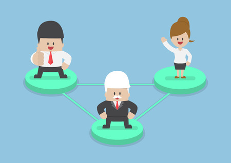 node: Business people on node connected by network lines, social network and business connections concept