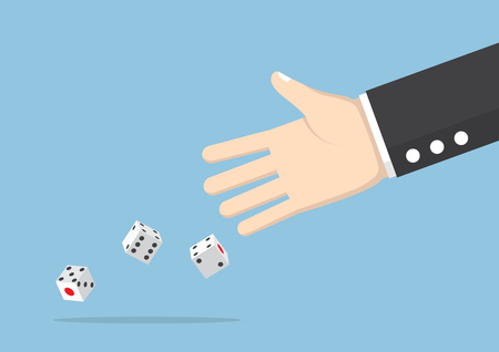 business risk: Businessman hand throwing dice, take a chance, gambling and business risk concept