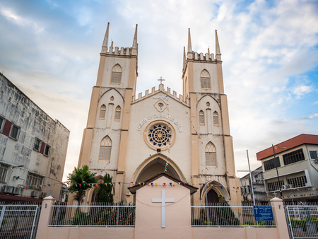 st  francis: St. Francis Xavier Church in early morning at Malacca, Malaysia