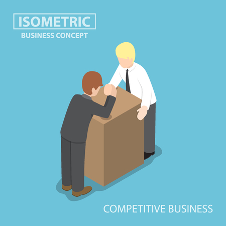 business competition: Businessman with his rival doing arm wrestling, business competition concept
