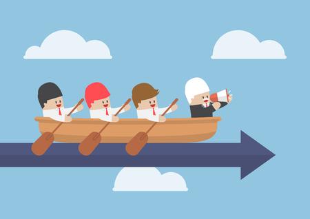 Senior zakenman met zijn team roeien naar succes, teamwork concept