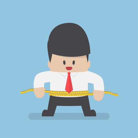 cintura: El hombre de negocios que mide su cintura con una cinta métrica. Concepto de salud y la dieta Vectores