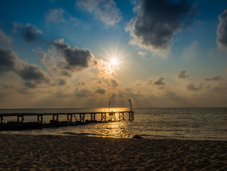 pier: Wooded bridge to the sea between sunset at Koh Kood, Trat, Thailand