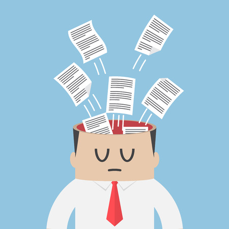 overwhelmed: Data paper flying out from businessman head, information overload and data management concept