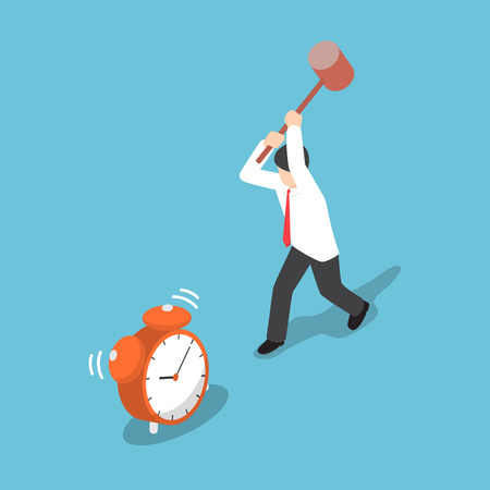 smash: Isometric businessman trying to destroy alarm clock by hammer, time management mistakes concept
