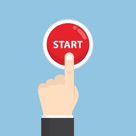 Businessman hand pressing start button, just get started concept