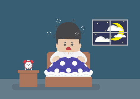 apnea: Businessman is wide awake in middle of night, sleep disorder, insomnia and health concept