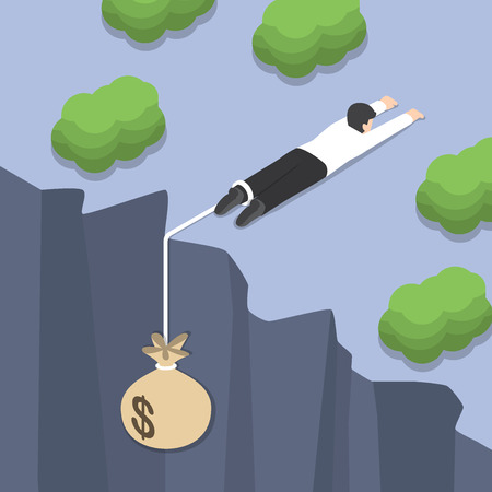 financial crisis: Isometric businessman holding on the cliff edge with money bag tied on his leg, Bankruptcy, liabilities, financial crisis concept Illustration