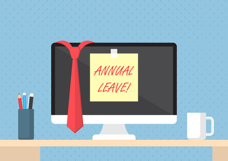 Sticky note with word annual leave on monitor, vacation and holiday concept Illustration