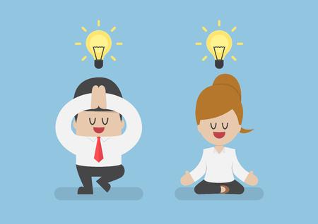 Les gens d'affaires méditant dans la pose d'yoga, la méditation et le concept sain