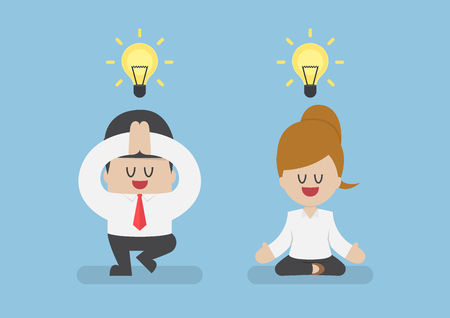 Business people meditating in yoga pose, meditation and healthy Concept