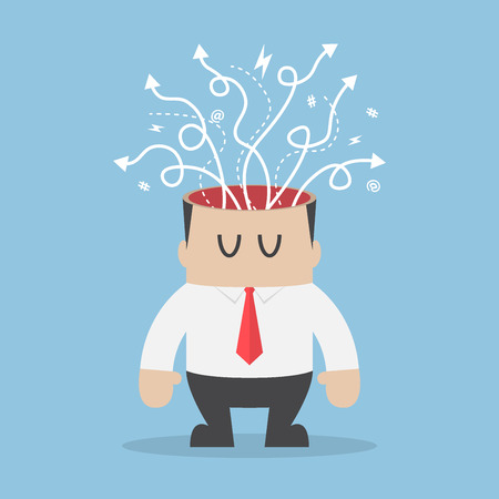coming out: Arrows with different directions are coming out of businessman head, stress and confusion concept Illustration