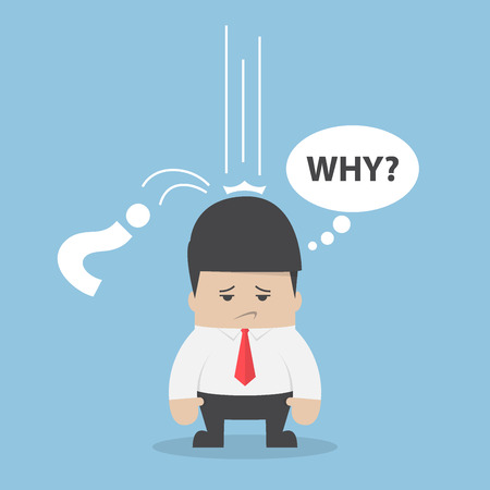 Businessman ask himself why with question mark sign falling on his head, business problem concept