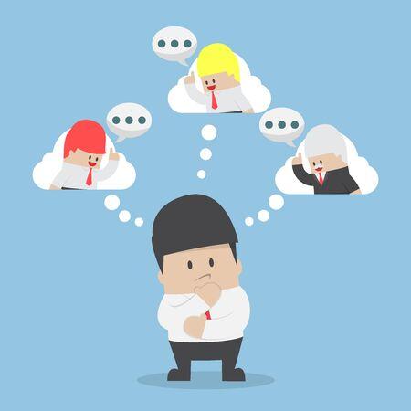 El hombre de negocios está considerando sus consejos sobre colega, asesoramiento financiero y de negocios concepto