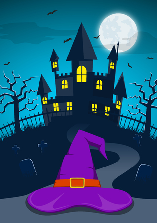 Halloween night background with witch hat and spooky haunted castle behind cemetery or graveyard