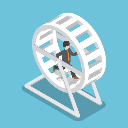 Isometric businessman in a suit running in a hamster wheel, business challenge and daily routine concept