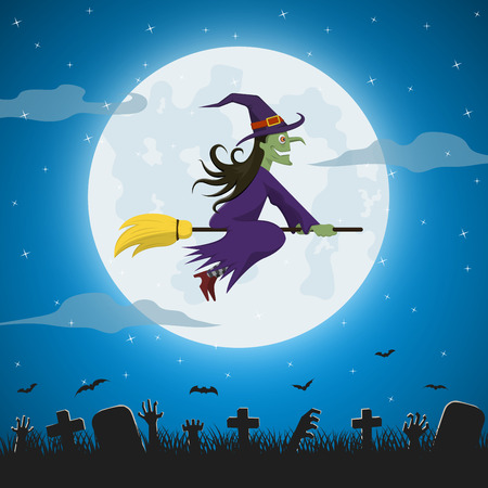 broomstick: Witch flying on a magic broomstick against the full moon over graveyard,  Halloween night background