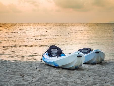 trad: Kayaks on the tropical beach in Koh Kood, Trad, Thailand