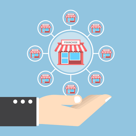 Businessman hand holding franchise marketing system, franchise business concept 向量圖像
