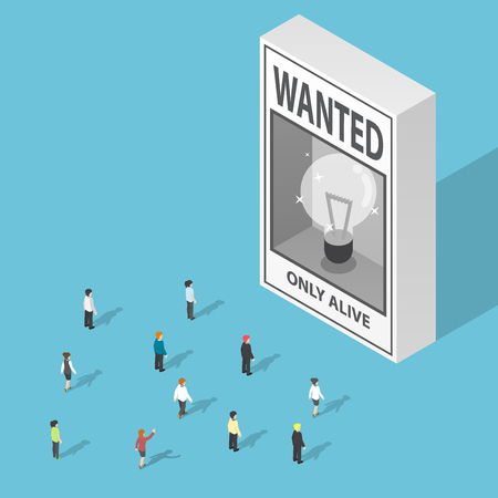 disappear: Isometric business people looking at ideas wanted poster, lack of ideas concept