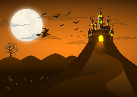 churchyard: Spooky ghost castle on the hill with full moon, bat witch, cloud, Happy Halloween background card