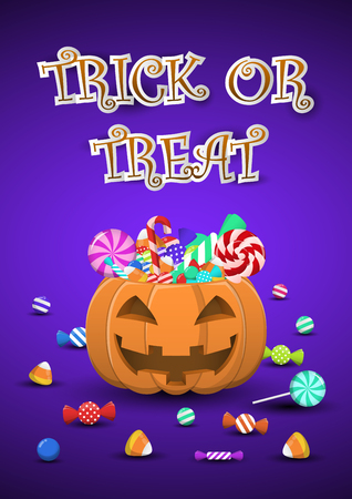 Halloween sweets and candies in pumpkin bucket with trick or treat word, halloween background postcard Illustration