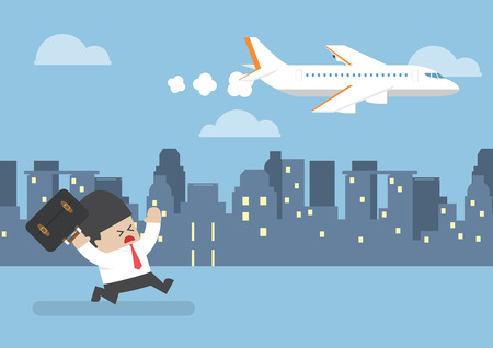 Businessman who missed his flight running behind a plane, time management concept Vectores