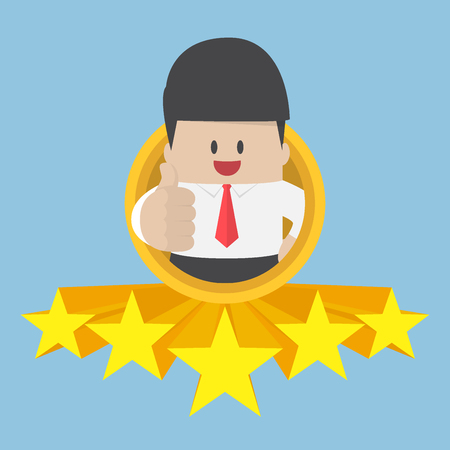 Businessman thumbs up with five star rating. best service and quality concept