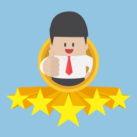 Biznesmen kciuki do góry z pięć gwiazdek. najlepszy serwis i jakość koncepcja