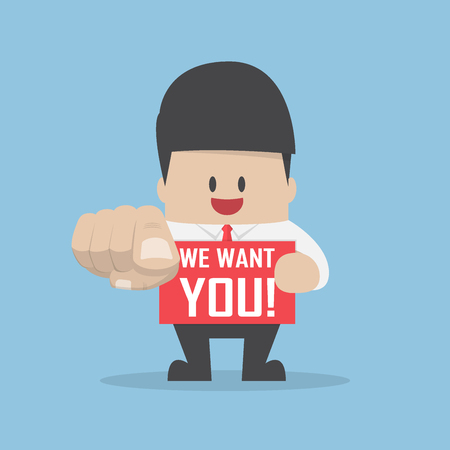 want: Businessman pointing finger towards you with word we want you, were hiring and recruitment concept